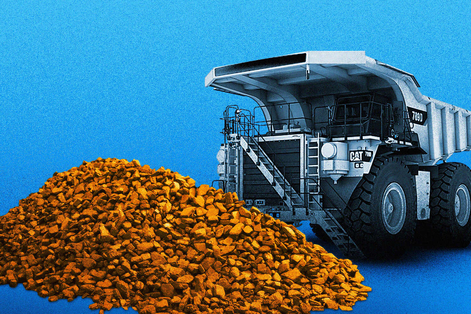pile of rare earth metals and mining dump truck