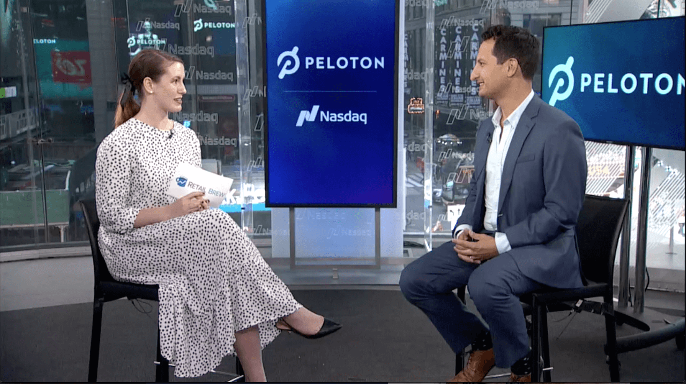 I sat down with Peloton's Co-founder and COO for some insight on its post-IPO plans. Left: yours truly. Right: Peloton Co-founder and COO Tom Cortese.