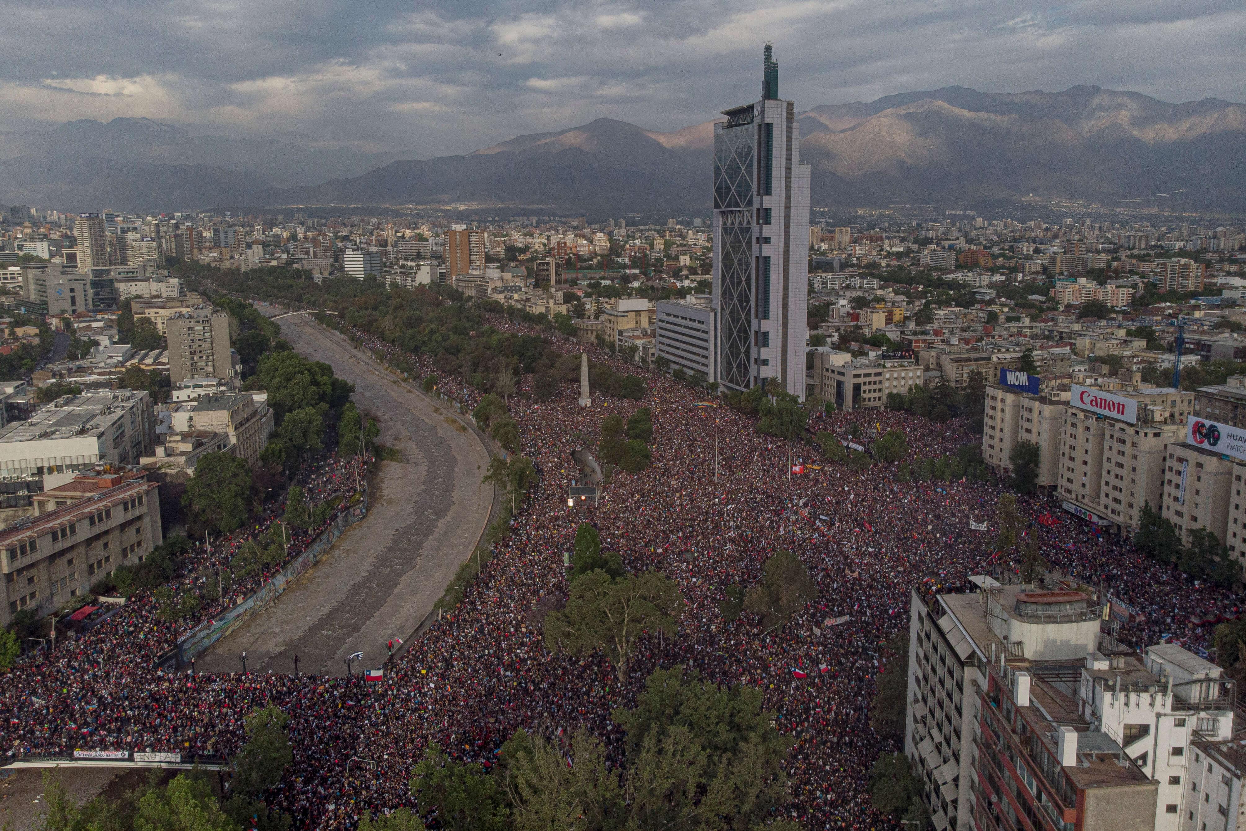 "Piñera said his government needed to ""prioritize re-establishing public order"" as it confronts massive protests Pablo Rojas Madariaga/NurPhoto via Getty Images"
