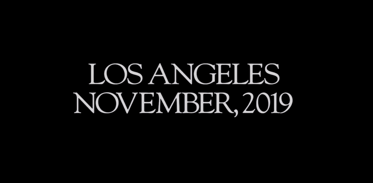 "Screenshot from ""Blade Runner"" title sequence with the words ""Los Angeles, November 2019"""