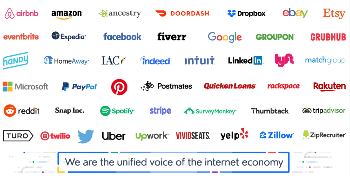 a list of Internet Association members, sorted alphabetically from airbnb to ziprecruiter
