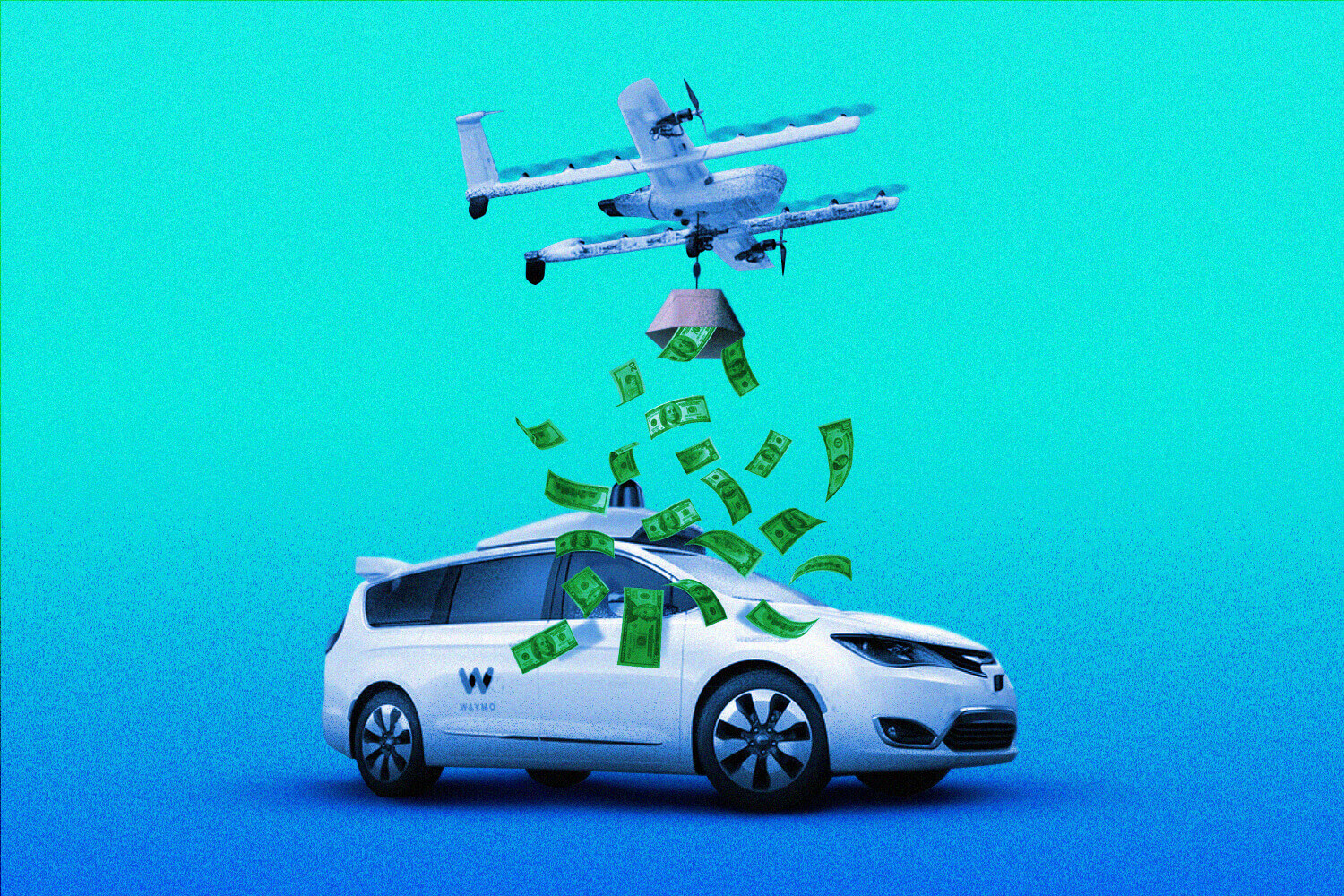 wing drone spilling cash over a Waymo van