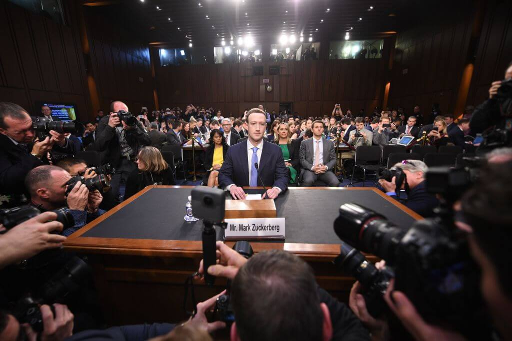 Facebook CEO Mark Zuckerberg arrives to testify before a joint hearing of the US Senate Commerce, Science and Transportation Committee and Senate Judiciary Committee on Capitol Hill.