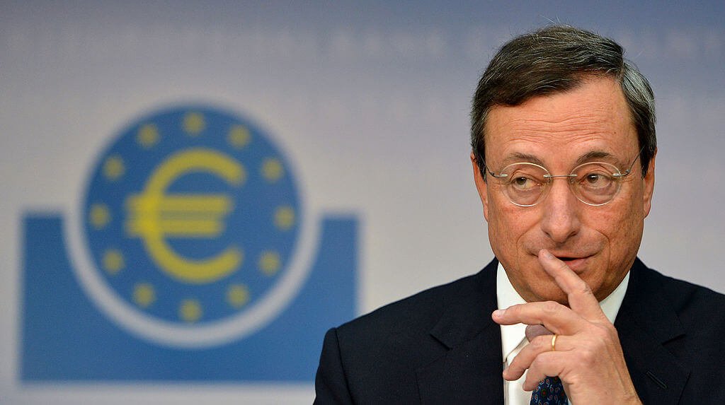 Mario Draghi, President of the ECB, address media following a meeting with the ECB council in Frankfurt am Main.