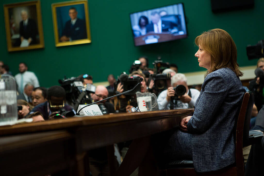 "General Motors CEO Mary Barra prepares to testify before the full House Energy and Commerce hearing room in a hearing entitled ""The GM Ignition Switch Recall: Why Did It Take So Long?"" April 1, 2014 on Capitol Hill."