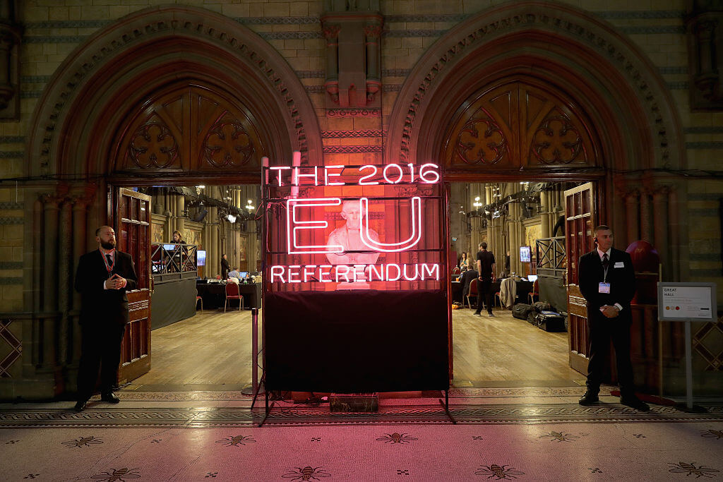 A neon sign welcomes referendum officials, campaign observers and the media to Manchester Town Hall for the national referendum declaration on June 23, 2016 Manchester, United Kingdom.