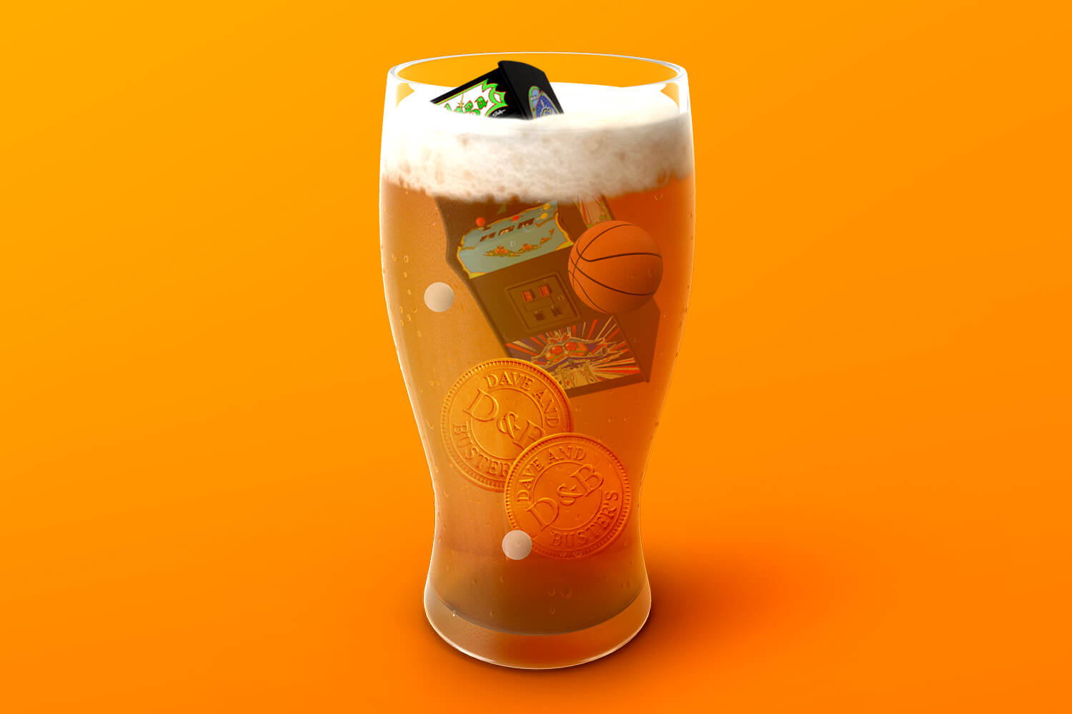A beer glass filled with Dave & Buster's icons
