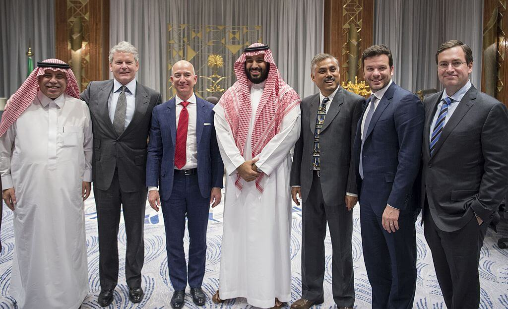 Bezos's ownership of the Post is getting him ensnared in thorny geopolitical disputes Pool / Bandar Algaloud/Anadolu Agency/Getty Images
