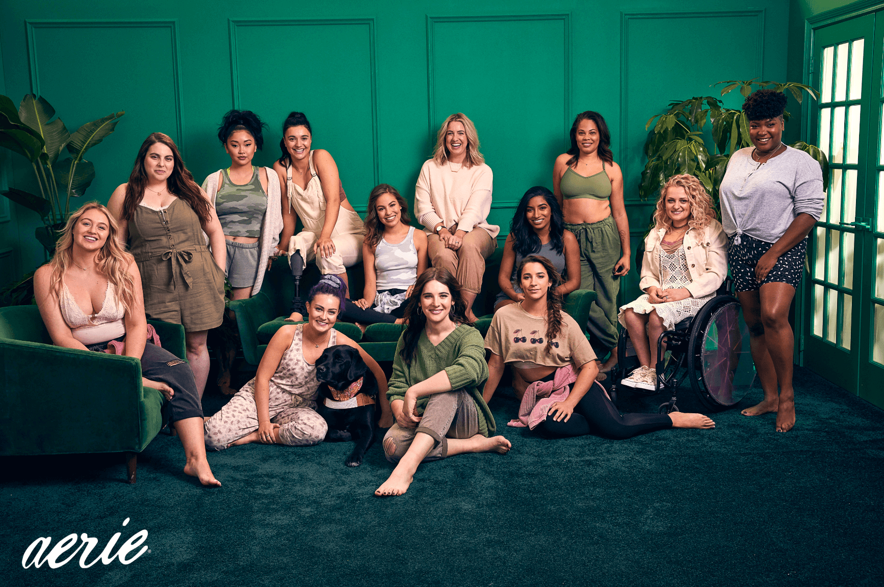 Aerie's 2020 Role Models wearing Aerie products in a green room