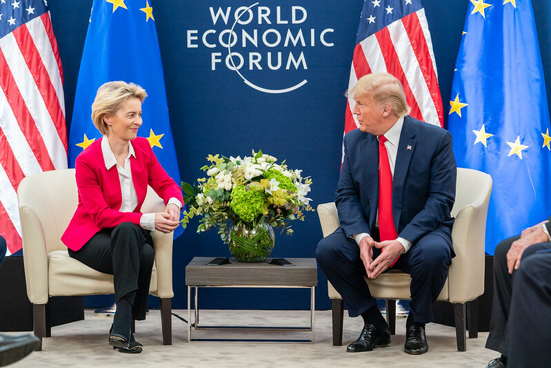 "President Trump is threatening 25% tariffs on European cars ""President Trump at Davos"" (Public Domain) by The White House"