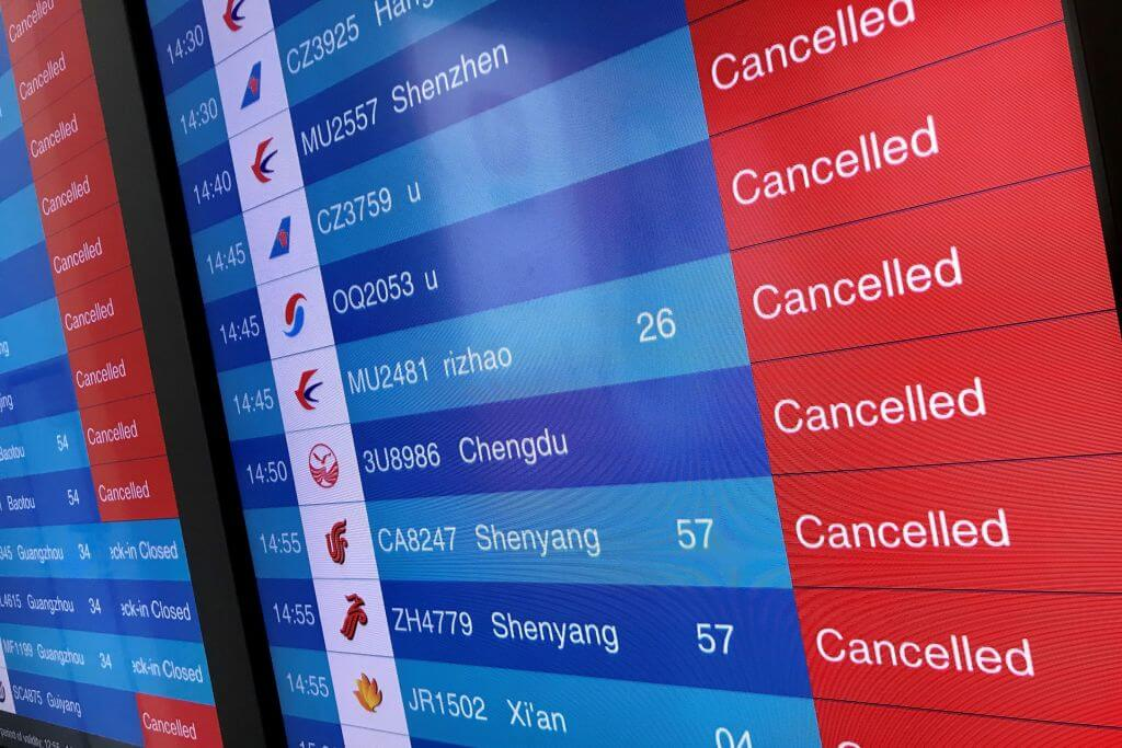 Right now, airlines are refunding tickets, premieres are canceled, and travel on Saturday was down 41% Canceled flights at Tianhe airport in Wuhan, China. LEO RAMIREZ/AFP via Getty Images.