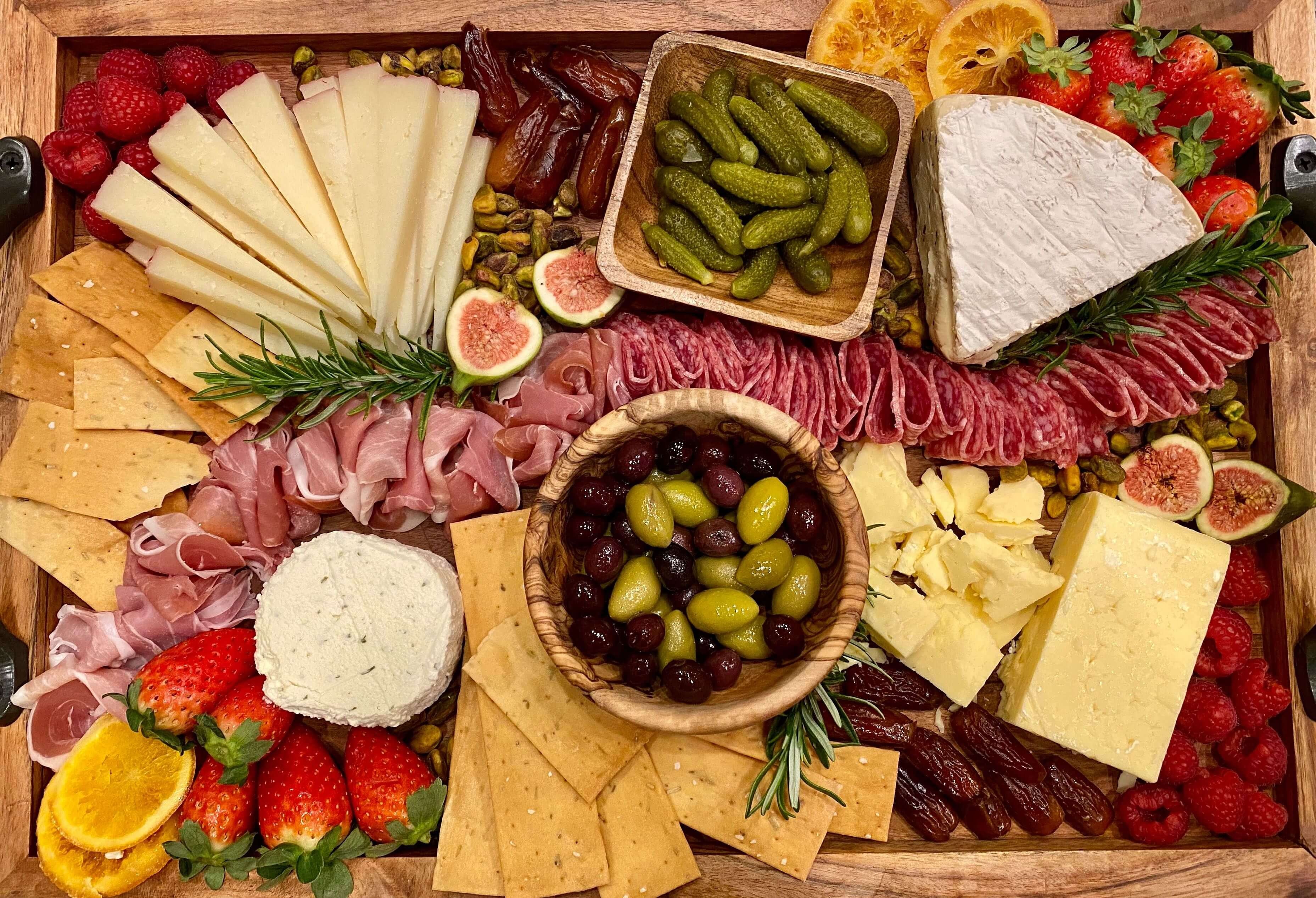 A photo of a charcuterie board