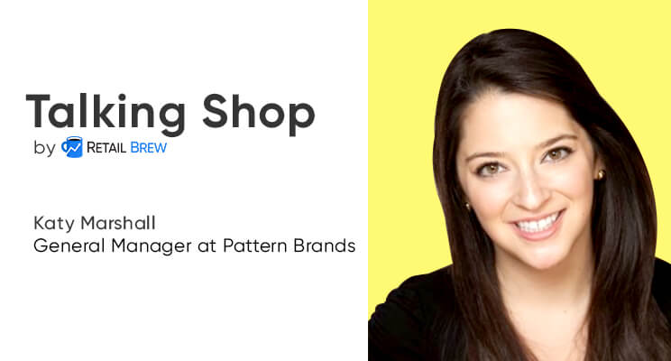 Pattern Brands GM Katy Marshall on a colorful background