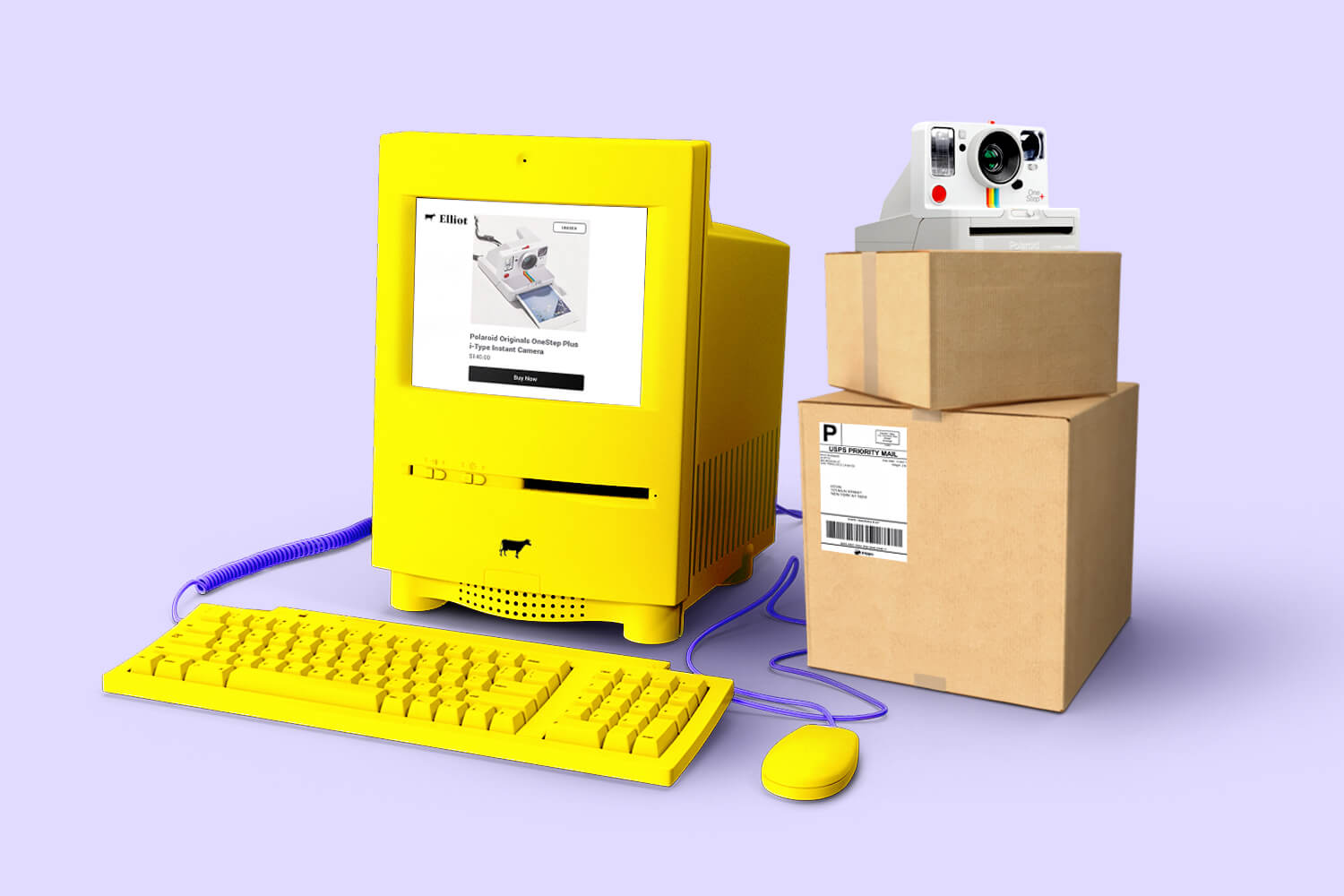 A bright yellow computer handling Elliot shipping